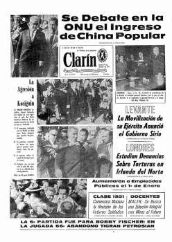 Tapa Clarin fecha 1971-10-19