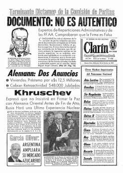 Tapa Clarin fecha 1961-10-18