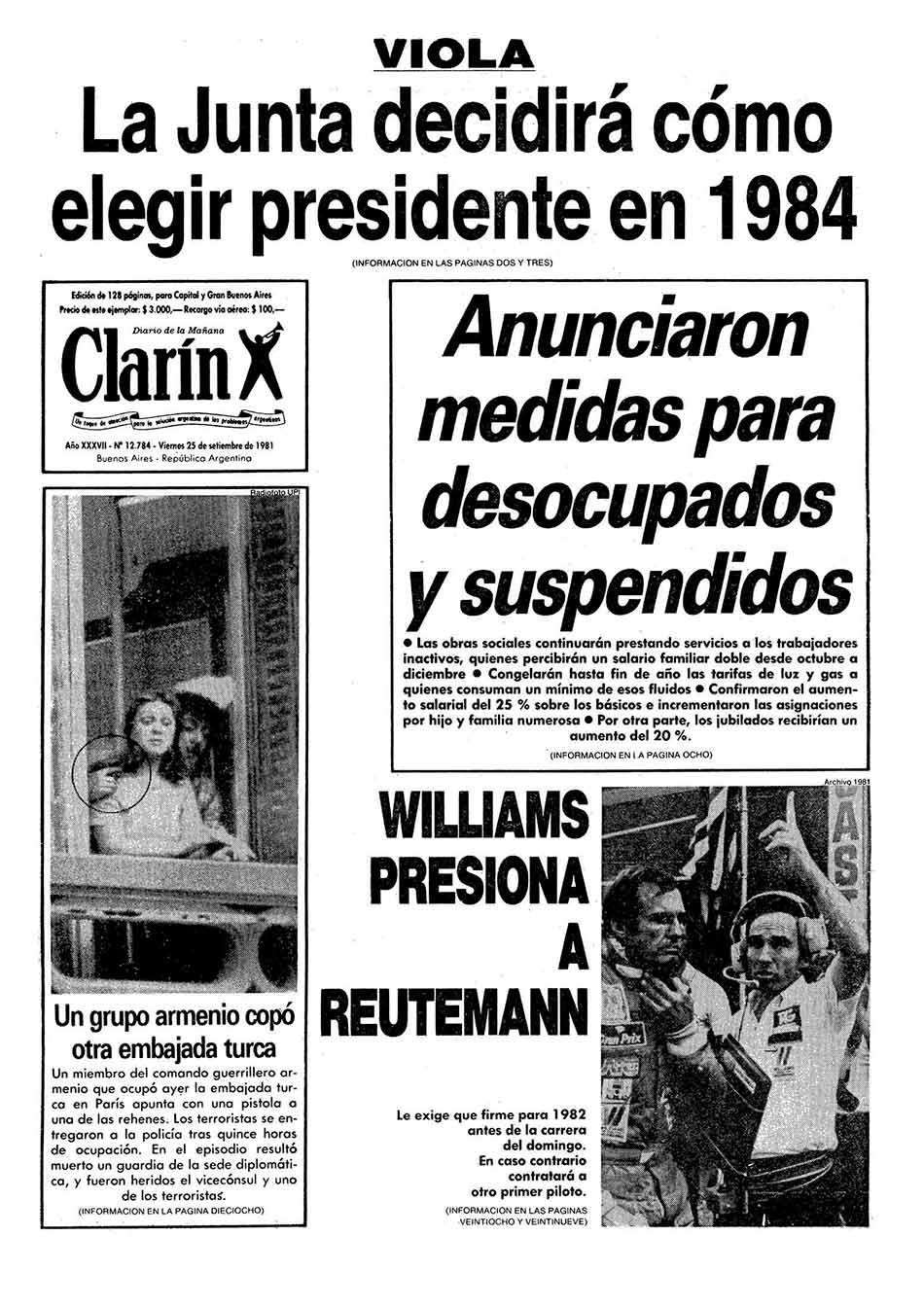 Tapa Clarin fecha 1981-09-25