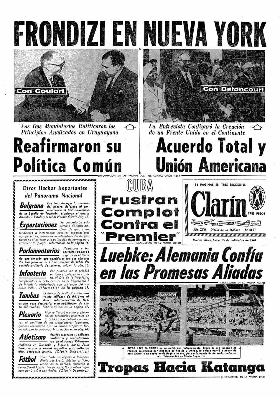 Tapa Clarin fecha 1961-09-25