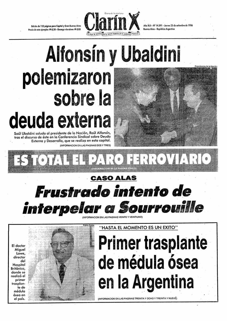 Tapa Clarin fecha 1986-09-25