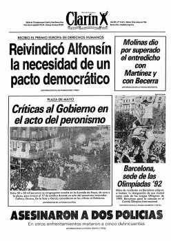 Tapa Clarin fecha 1986-10-18