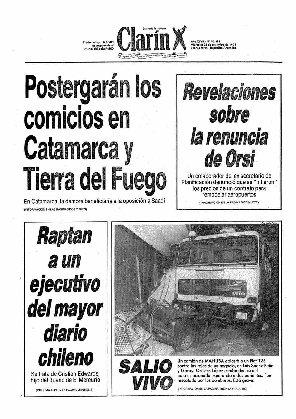 Tapa Clarin fecha 1991-09-25