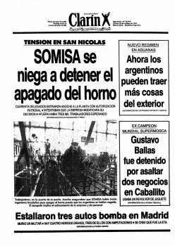 Tapa Clarin fecha 1991-10-18